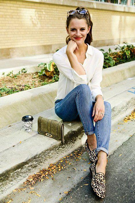 zapatos mocasines animal print leopardo con jeans