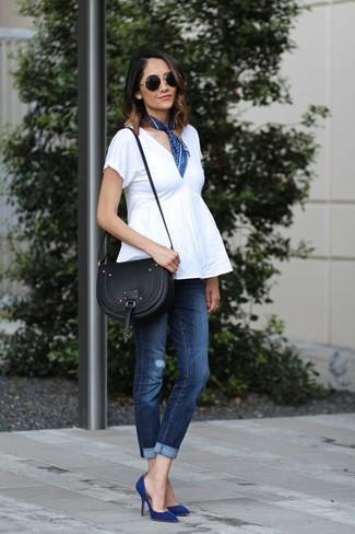 jeans con stilettos azul oscuro