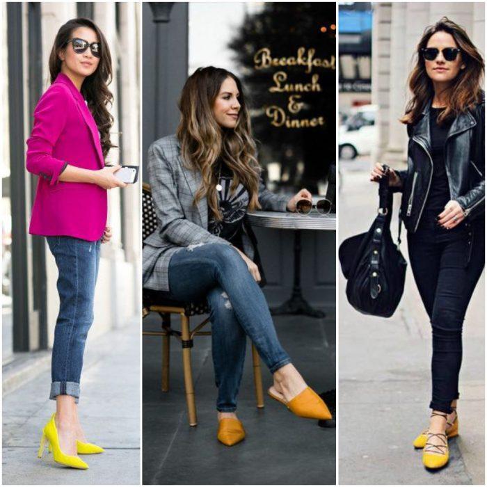 outfits con zapatos amarillo mostaza