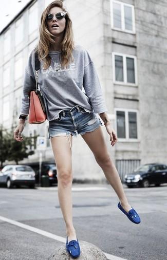 zapatos mocasines azul ocuro para mujer