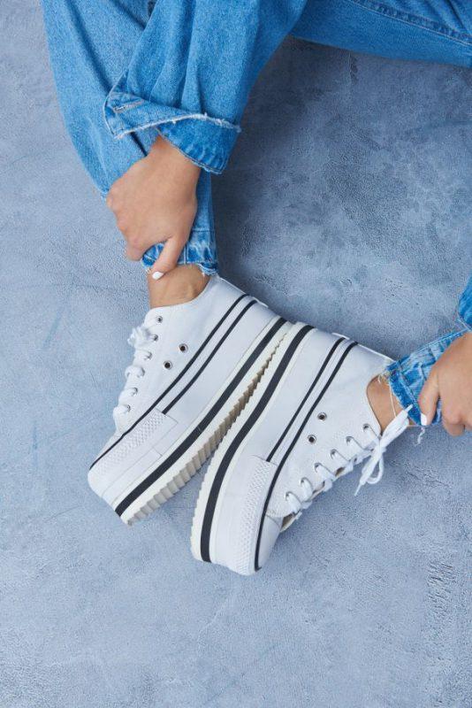 zapatillas de lona con base alta invierno 2021 47 Street