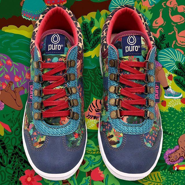 zapatillas azules estampada invierno 2021 Puro
