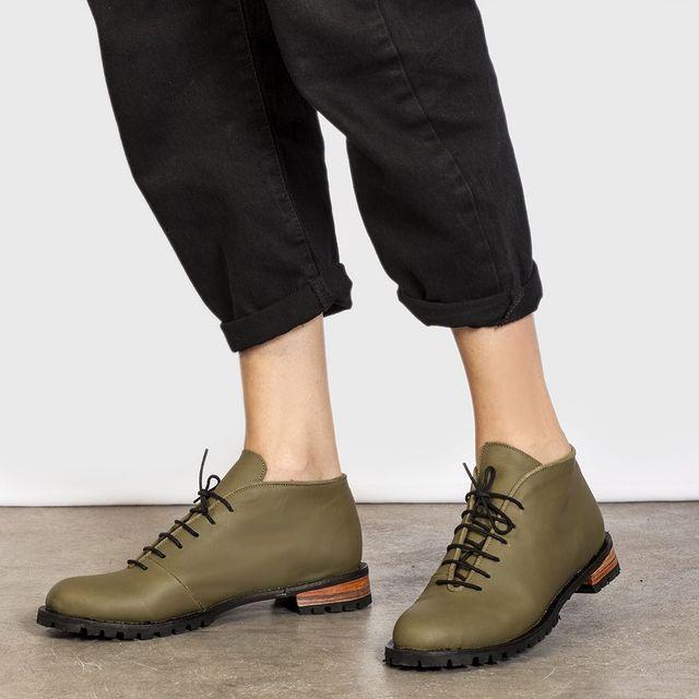 zapatos verdes acordonados invierno 2021 Cestfini