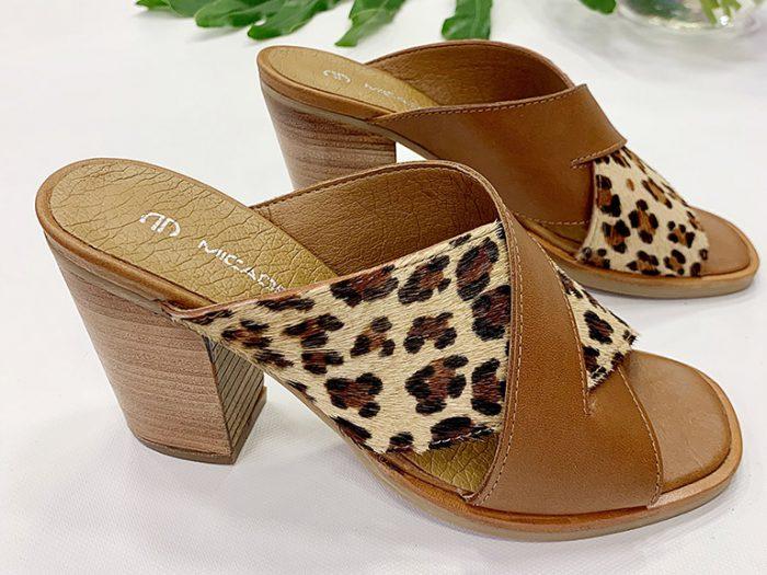 sandalia leopardo taco medio verano 2022 Calzados Micadel