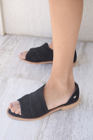 sandalias planas negras verano 2022 LOVIU SHOES