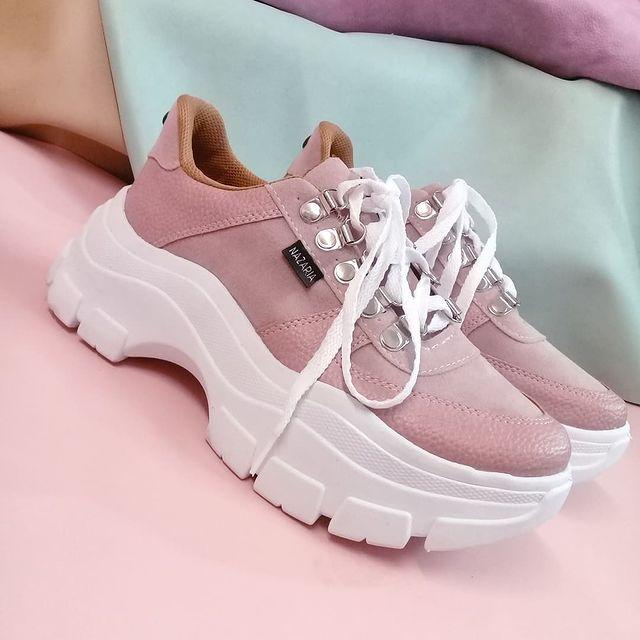 zapatillas rosadas base alta primavera verano 2022 Nazaria