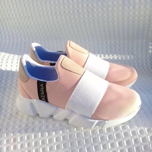zapatillas rosadas sin cordones primavera verano 2022 Nazaria