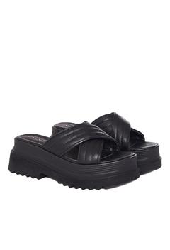 Sandalias negras cruzadas verano 2022 Via Uno