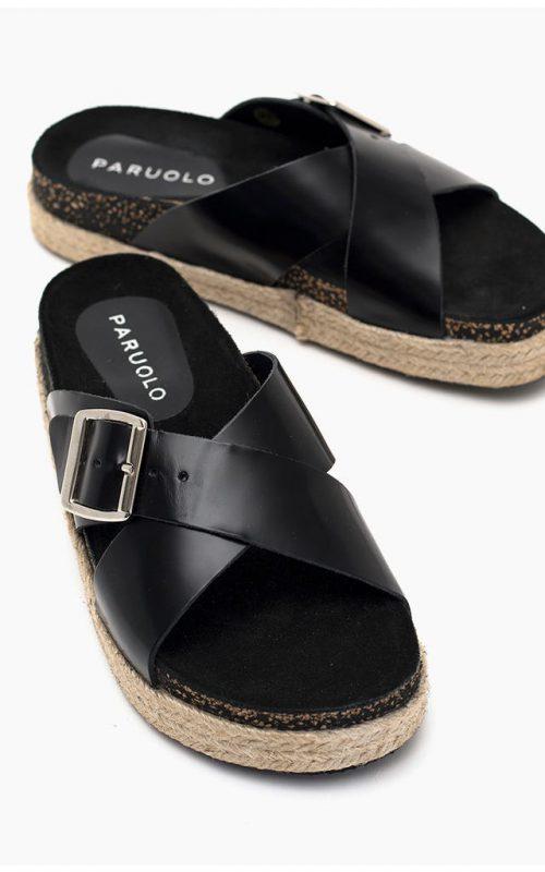 Sandalias planas negras base yute verano 2022 Paruolo