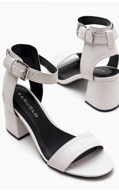 sandalias blancas taco medio verano 2022 Paruolo