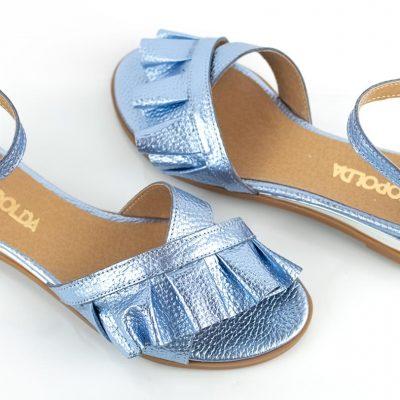 sandalias chatitas celeste metalizado verano 2022 La Leopolda