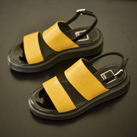 sandalias planas amarillas verano 2022 Tosone Calzados