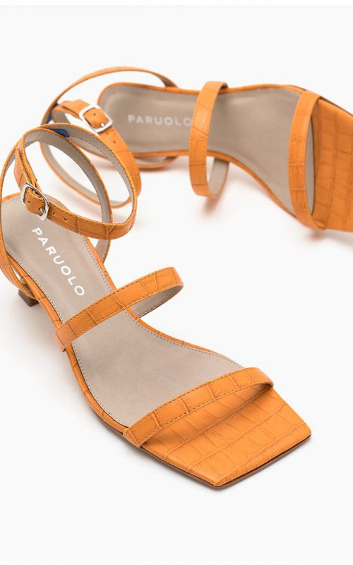 sandalias punta cuadrada naranja verano 2022 Paruolo