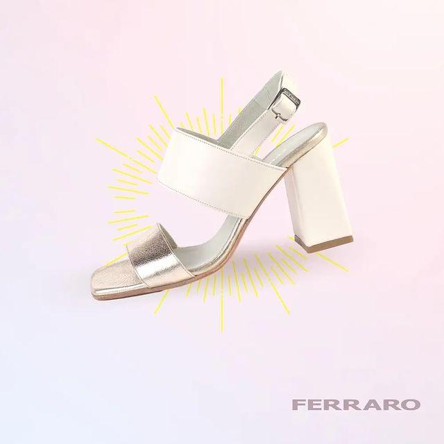 sandalias taco alto blancas verano 2022 Ferraro