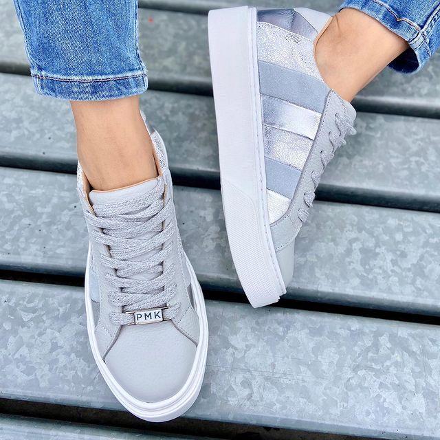 zapatilla gris y plateada verano 2022 Pamuk